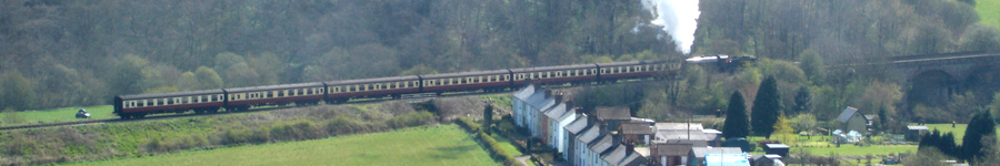 NYMR steam train passing Esk Valley cottages